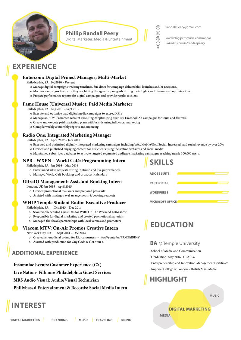 Phillip Randall Peery Resume - Digital Marketer Media and Entertainment Philadelphia