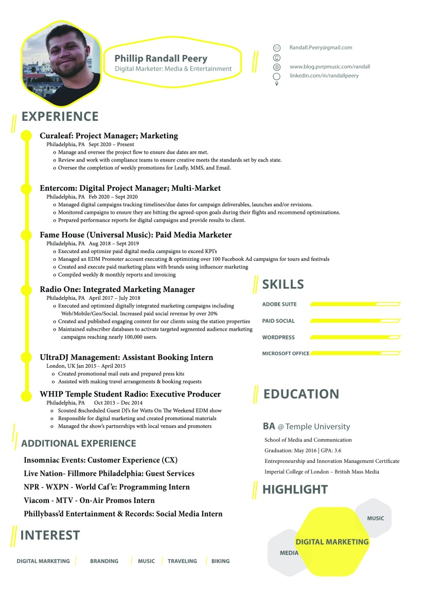 Phillip Randall Peery Resume - Digital Marketer Media and Entertainment Philadelphia
